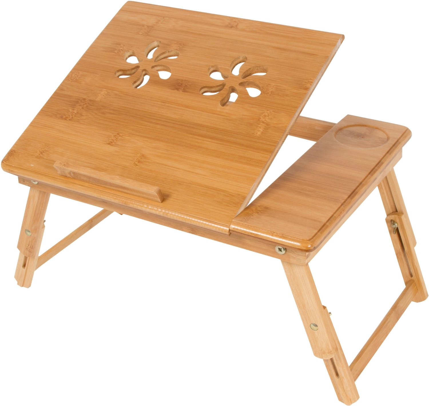 Rolling bed tray table - Trademark Innovations Folding Bamboo Serving Bed Tray